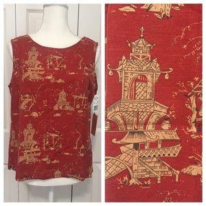 Ruby Rd   Sleeveless Asian Temple Linen Tank Top